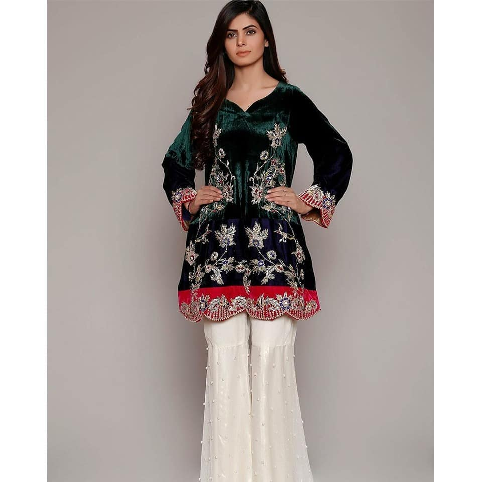 Winter Velvet Dresses Designs Latest Trends Collection 2018-2019 b9a25623c