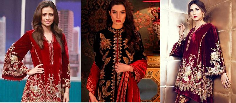 Winter Velvet Dresses Designs Latest Trends Collection 2018-19