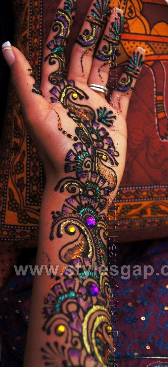 Henna Tattoo Colors : Stylish glitter mehndi designs trends collection