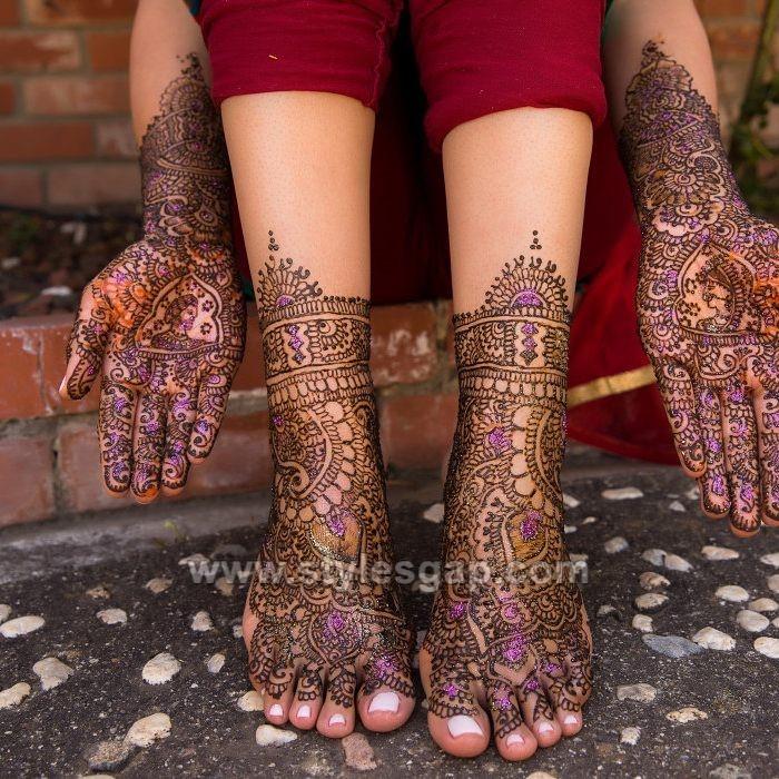 Hands & Feet Glitter Mehndi Designs (16)