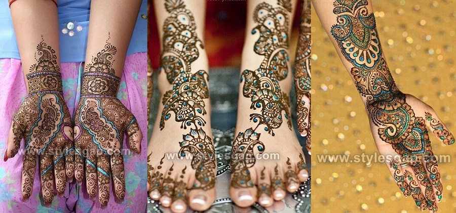 Stylish Glitter Mehndi Designs Trends Collection 2018-2019