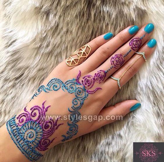 Colored Henna Tattoo: Stylish Glitter Mehndi Designs Trends 2018-19 Collection