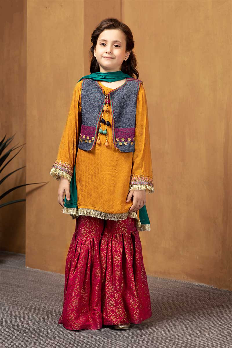 Kids Little Girls Stiched Asian Pakistani Indian Embroidered Linen Suits