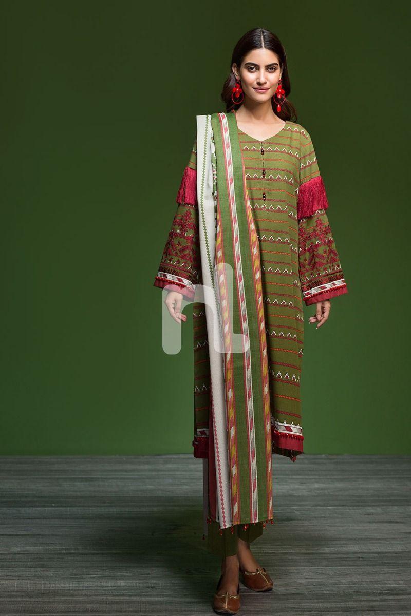 3 Piece Un Stitched Nishat Linen Winter Dresses Collection 2019 2020 17 Stylesgap Com