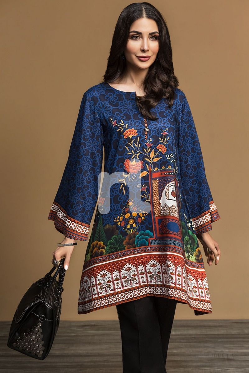 blue winter kurti