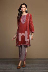 2 piece winter stitched nishat linen winter dress