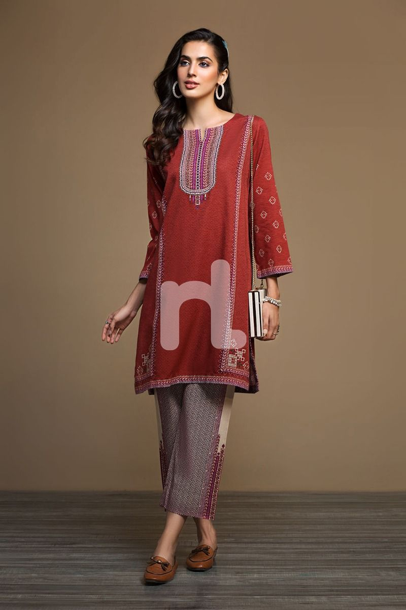 2 piece winter stitched nishat linen winter dress