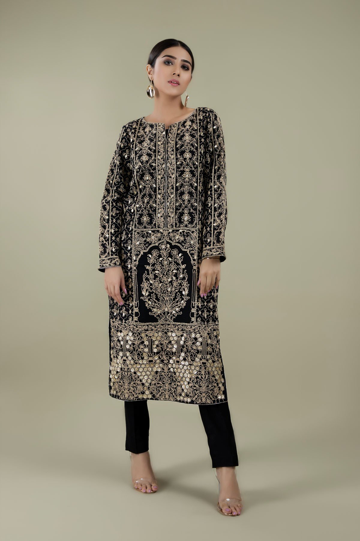 2 Pc Suit - Embroidered Shirt with Gota work and Solid Trouser