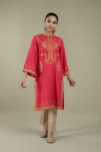 Dyed & Embroidered Kashmiri phiran in red