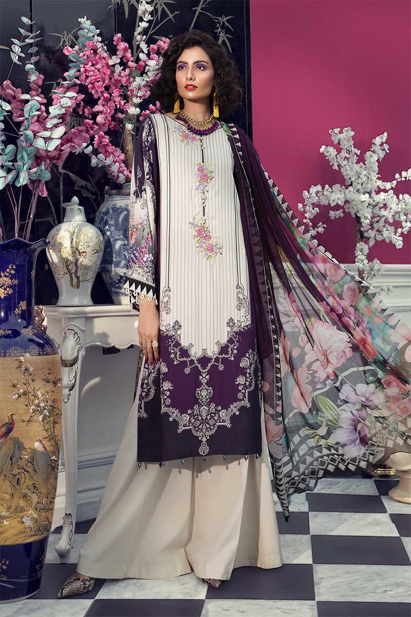 Maria B Winter Printed Embroidered Dress