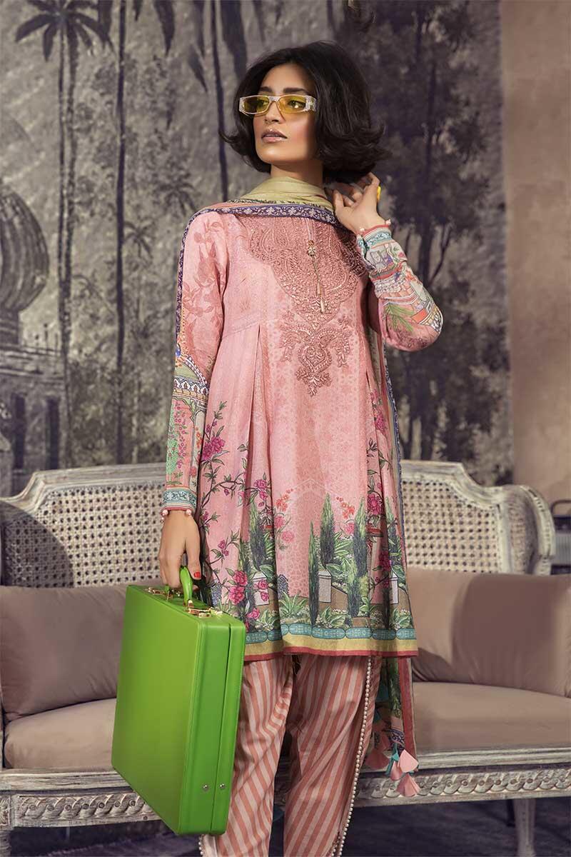 pink printed karandi dress