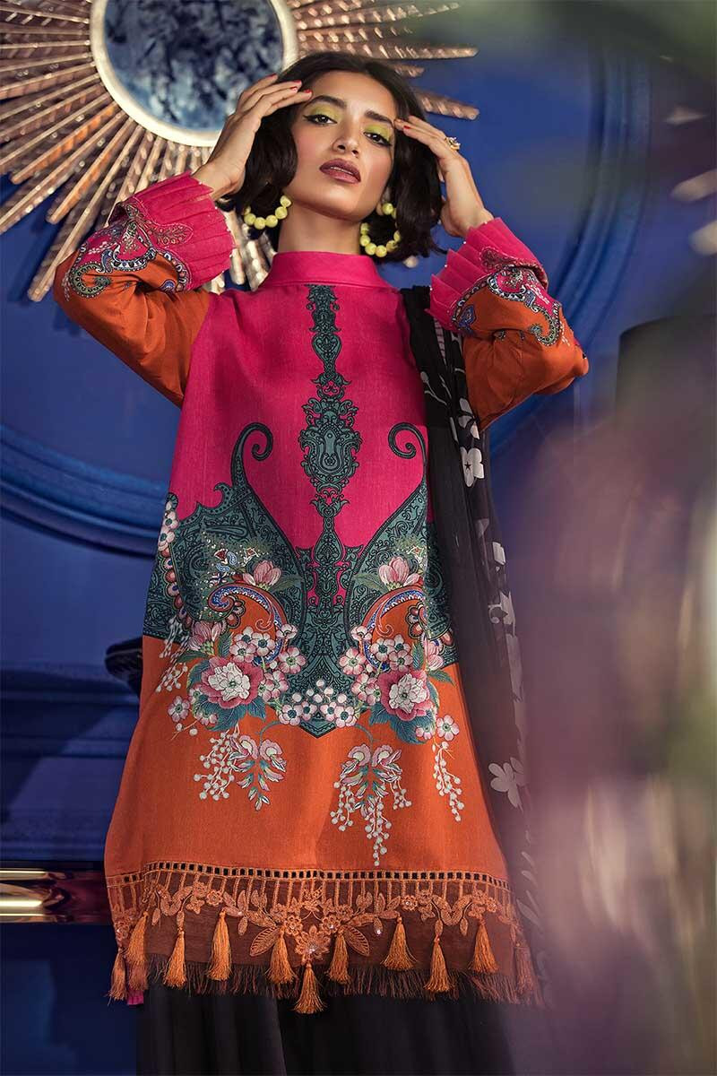 Latest Maria B Winter Printed Pink orangeDresses