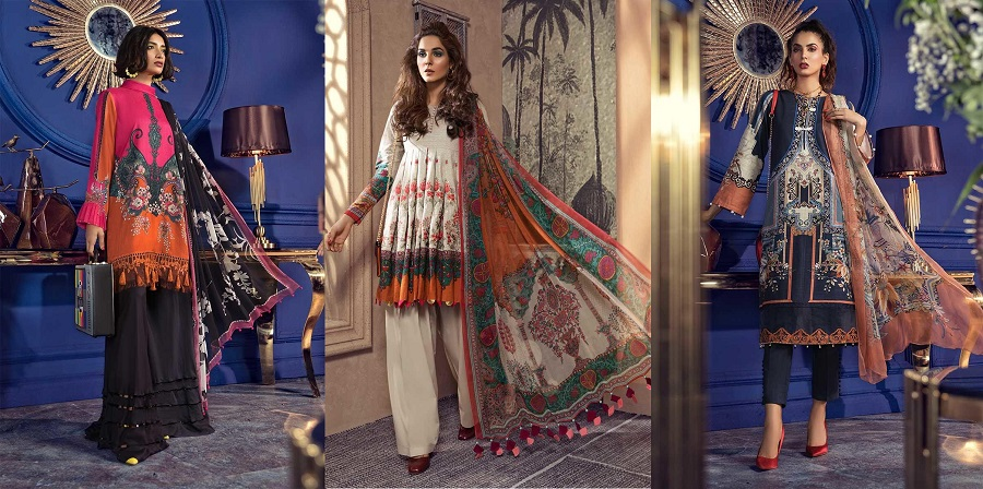 Latest Maria B Winter Printed Dresses Autumn Collection 2019-2020