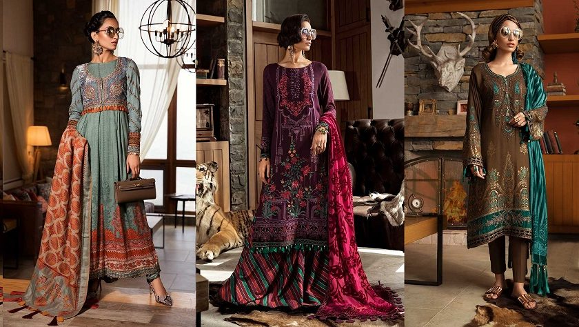 Latest Maria B Winter Linen Dresses Collection 2019-2020