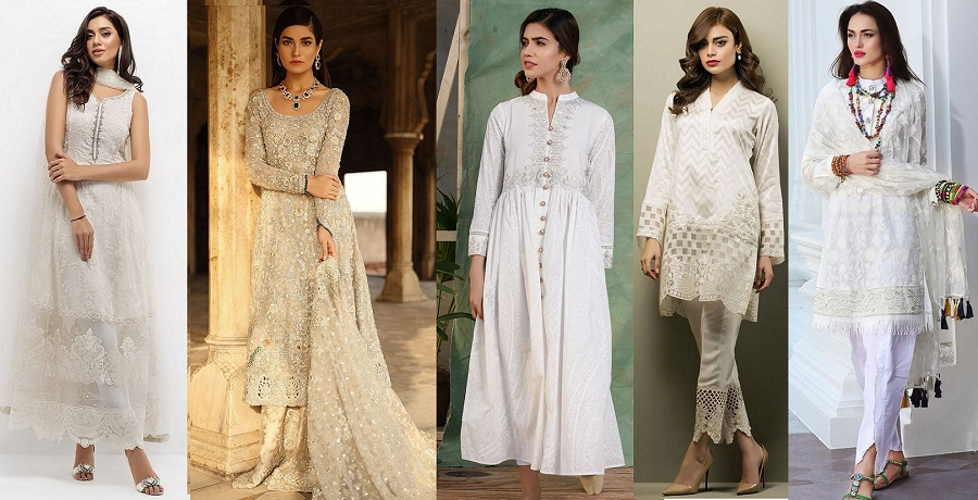 Latest White Dresses Trends Shalwar Kameez Fashion 2019-2020