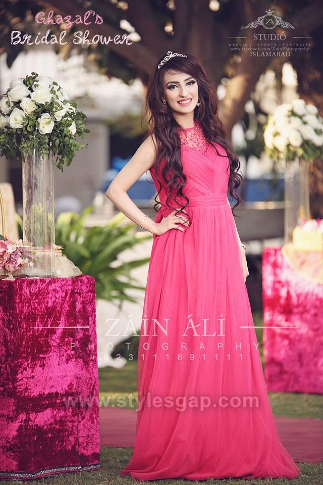 Latest Pink Color Bridal Shower Dresses & Frocks