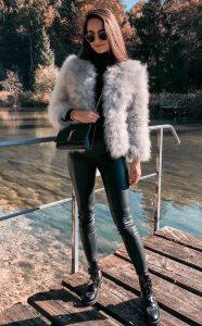 soft fuax fur grey jacket