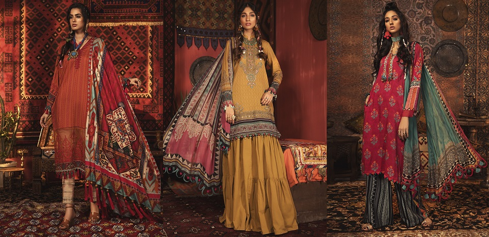 Latest Maria B Winter Printed Dresses Embroidered Collection