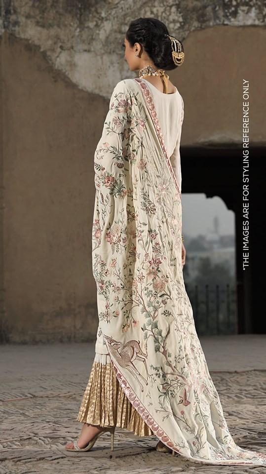 white heavy embroidered velvet shawl