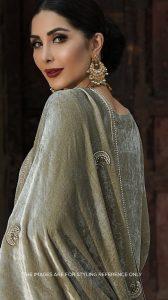 grey embroidered velvet shawl