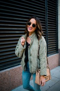 light green soft winter quilted jacket