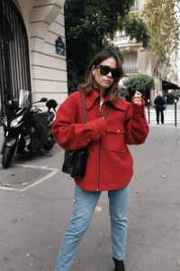 red woolen jacket