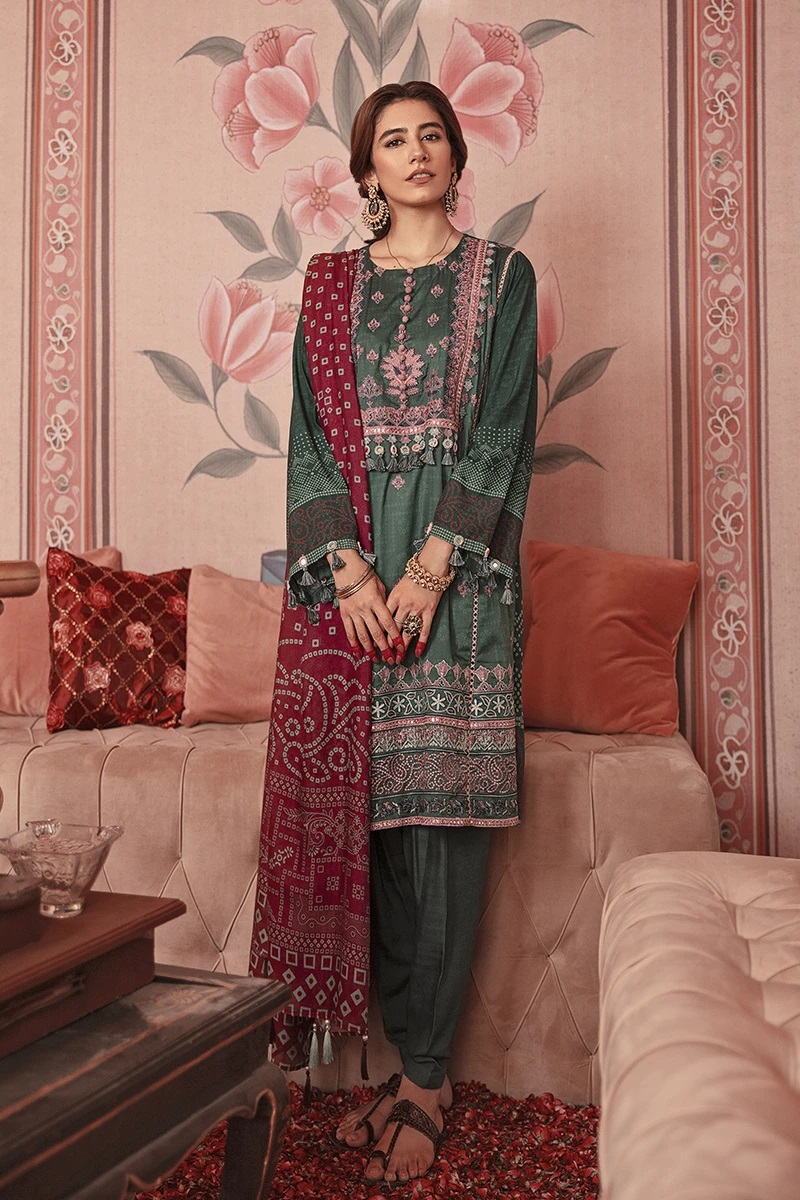 Cross Stitch Winter Printed Embroidered Dresses