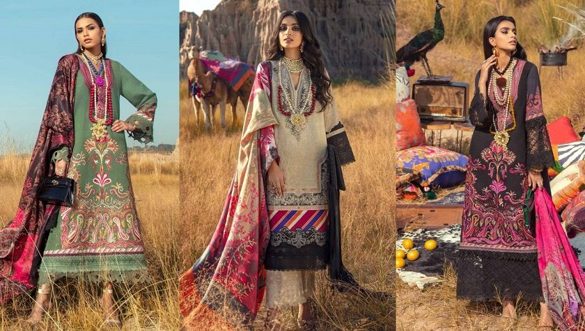 Latest Sana Safinaz Winter Shawl Dresses Collection 2020-21