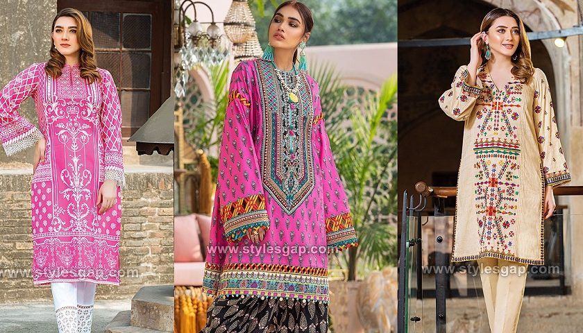 latest summer lawn Printed Embroidered Kurtas & stitching styles