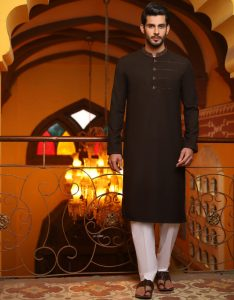 It is ram packed with a broad range of festive outfits; the kurtas have beautiful neckline with light embroideries, some have beautiful digital and screen prints. The kameez is nourished with rich colours with classic collars and sleeves. The grey color also looks decent. This light embroidered kameez is a must-have. It's per your choice to go for dark grey for lighter one. The collars of shirts are adorned. Beautiful buttons are added. If you are fond of dark colors then here you go. J. has presented some of the marvelous dark colored suits for men this festive season. Brown is always a good idea. It has become the signature color for gents. Look at these two beautiful designs from the Latest collection by J.