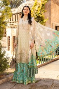 This pastel pink suit from this assortment is just amazing. The pretty embroidery on the shirt paired with an embroidered net dupatta. It comes up with white cambric trouser.