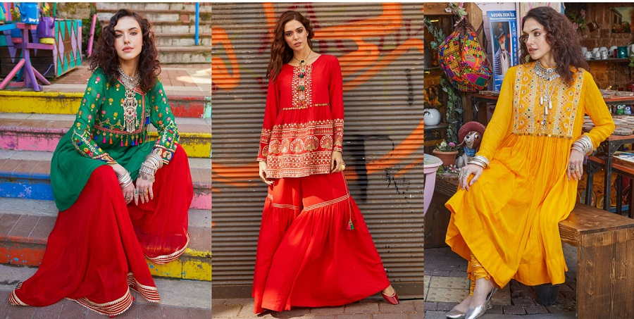 Rang Ja Latest Colorful Kurti Peplum Dresses